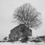 abandonned country estate in the snow